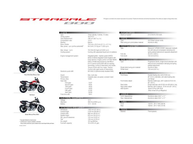 Technical Specifications of the MV Agusta Stradale 800 mv agusta stradale 800 technical specifications 635x476