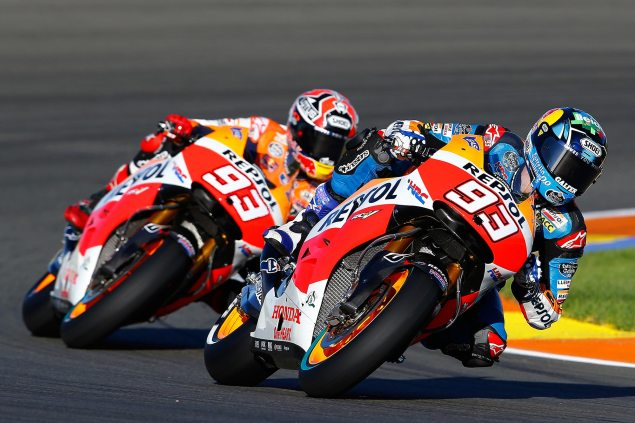 Monday Summary from Valencia: New Bikes, New Riders, And a Dog & Pony Show marc marquez alex marquz repsol honda 635x423
