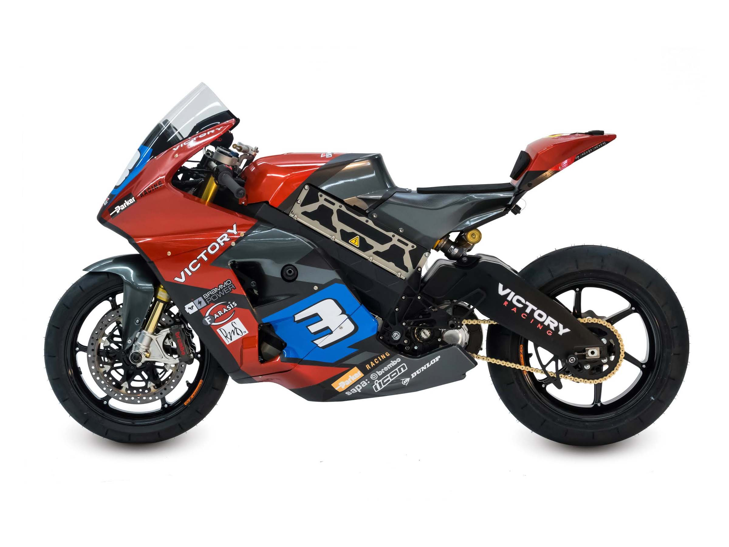 victory entering an electric race bike at isle of man tt. Black Bedroom Furniture Sets. Home Design Ideas