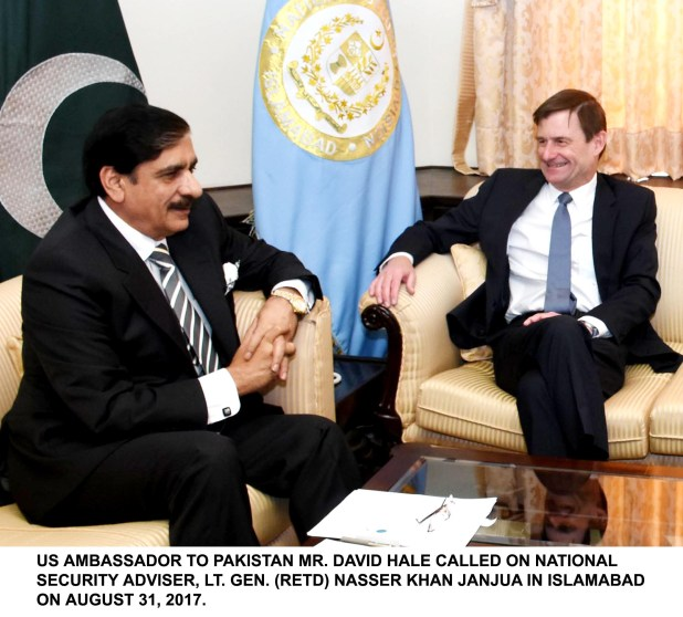 US AMBASSADOR TO PAKISTAN MR. DAVID HALE CALLED ON NATIONAL SECURITY ADVISER, LT. GEN. (RETD) NASSER KHAN JANJUA IN ISLAMABAD ON AUGUST 31, 2017.