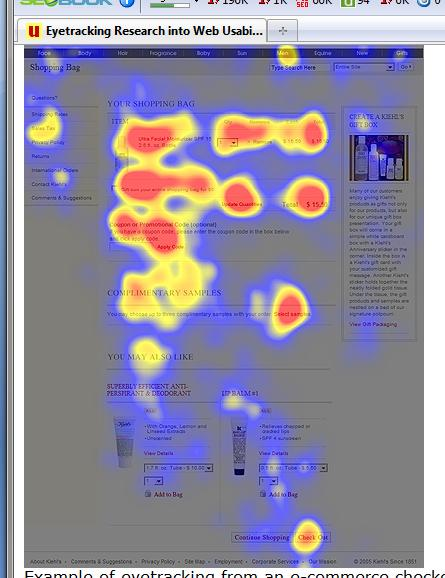 Eye tracking heat map of an ecommerce checkout page