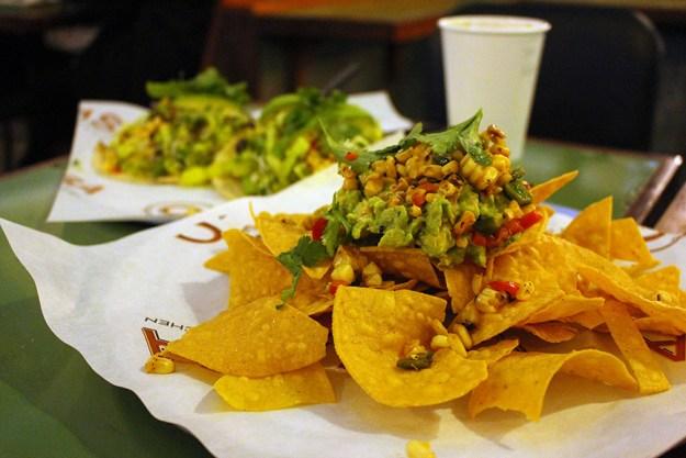 vegan nachos and guacamole  and tacos c casa napa