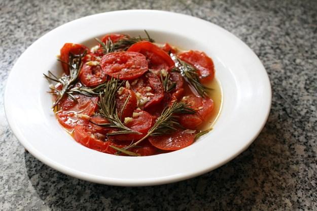 roasted tomato wide shot