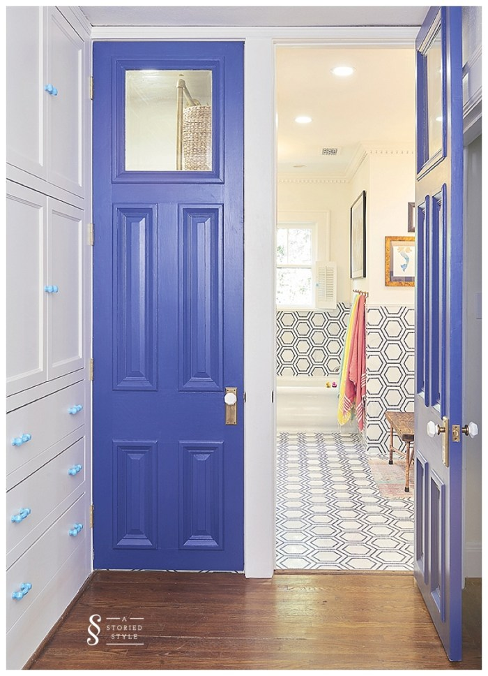 bathroom makeover blue doors