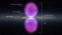 Voorstelling van de met Fermi ontdekte gasbellen aan weerszijden van de Melkweg