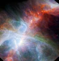 De met Spitzer gemaakte foto van de protosterren in de Orionnevel
