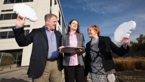 Dan Klein, Microsoft Ireland, with Christina McCarthy and Siobhan Long, Enable Ireland