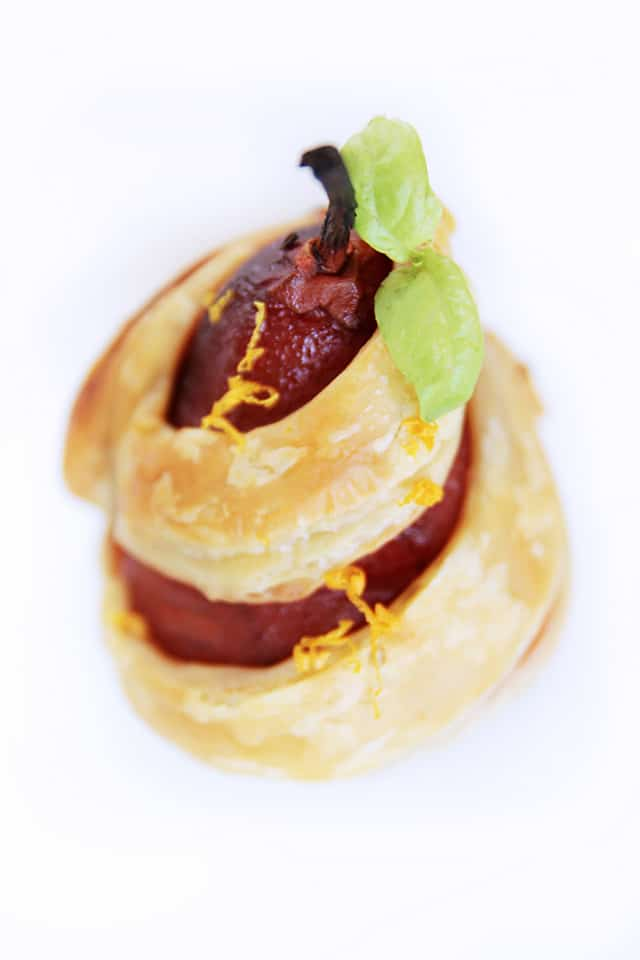 Poached Pear with Puff Pastry