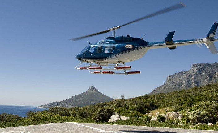 South Africa Luxury Safari -Have a Helicopter on standby in Cape Town