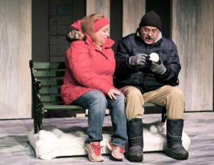 Ginette (Linda Place) and Pete (James Connor) learn what it means to be close. Photo by Carolyn Choe