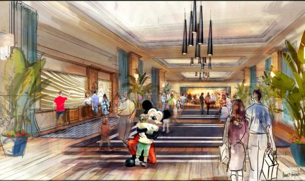 Concept art of the lobby for the new luxury hotel proposed at the Disneyland Resort. The company has said it might change its plans if forced through a ballot measure to increase wages because it received tax incentives. (Register file photo)