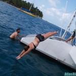 Sea Diving off a Catamaran