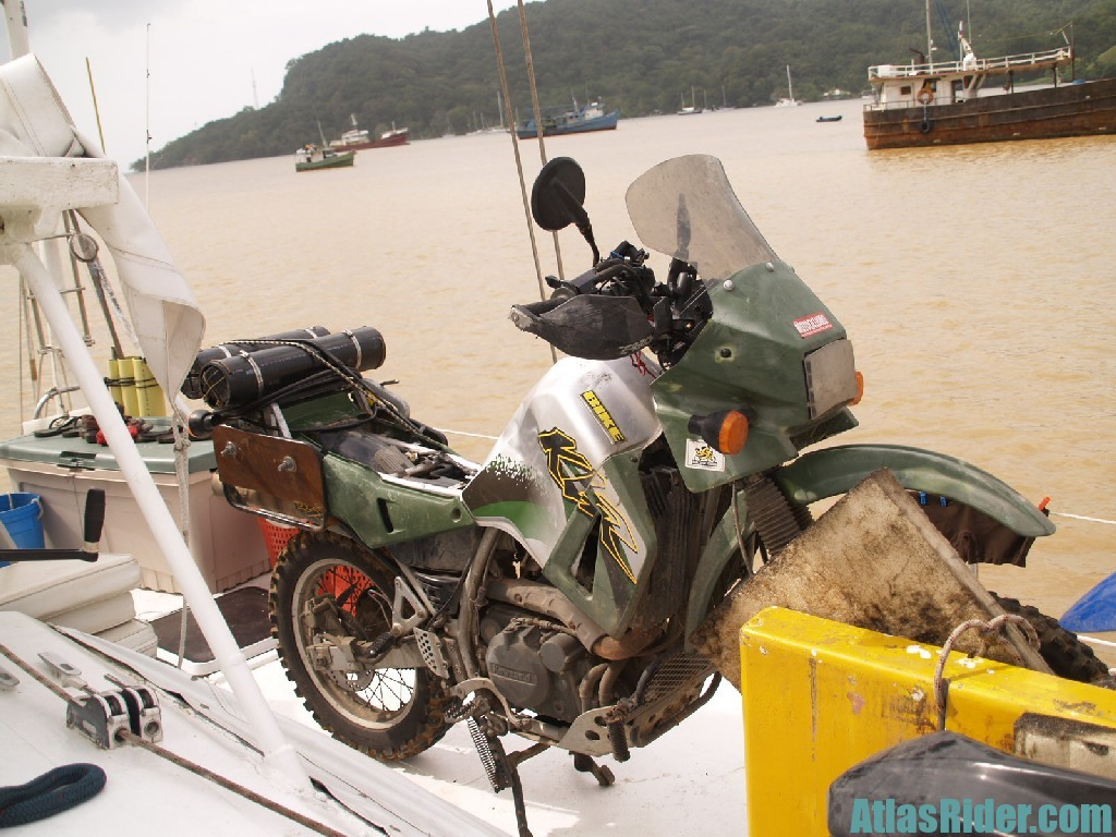 KLR Strapped to Ship's Deck