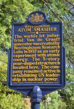 PA State Historical Marker for the Westinghouse atom smasher, dedicated August 2010. Photo © Edward J. Reis.