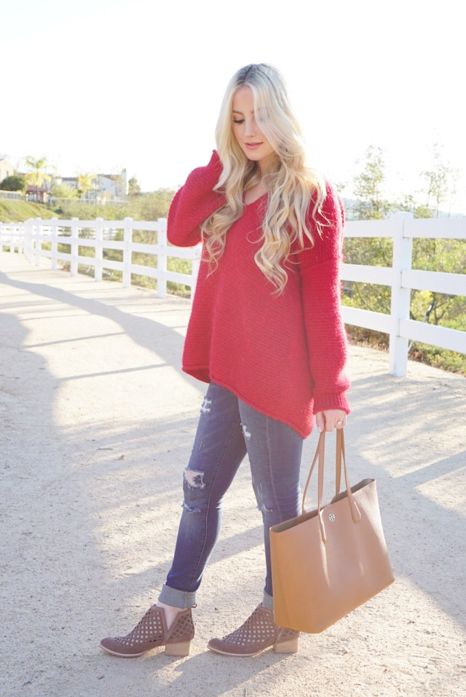 Katelyn Jones A Touch of Pink Slouchy Sweater Red Free People Sweater
