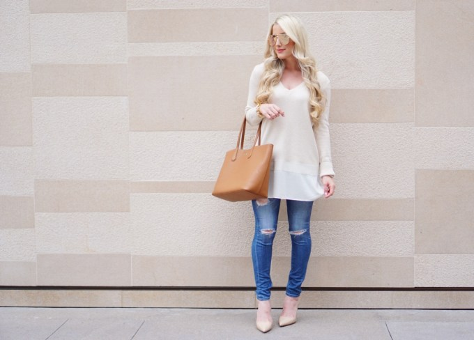 A Touch of Pink Blog Katelyn Jones Long Cream Tunic Sweater Nordstrom