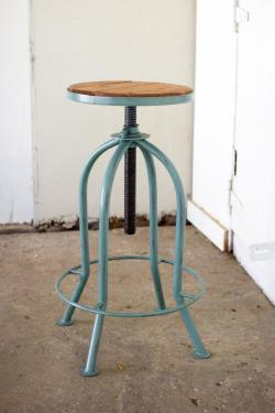Nice Sale Near Me Wood Bar Stools 24 Inch Industrial Blue Finish Bar Stool Adjustable Industrial Blue Finish Bar Stool Recycled Wood Wood Bar Stools