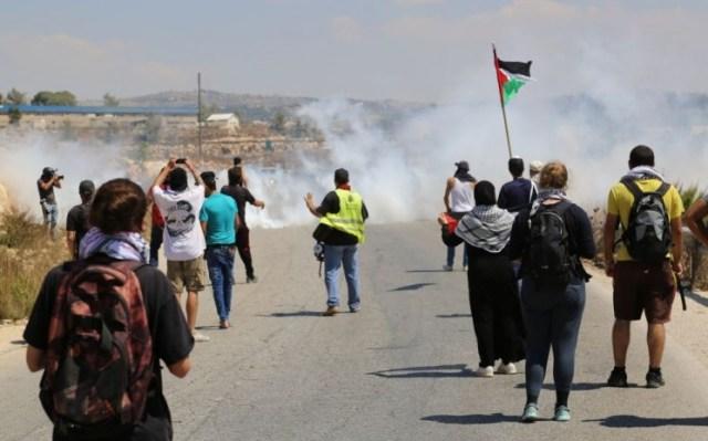 Demonstranten und Medienvertreter starten aus dem Dorf Nabi Saleh, und bewerfen IDF-Soldaten mit Steinen. Diese antworten mit Tränengas. 28. August 2015. Foto Eric Cortellessa / Times of Israel