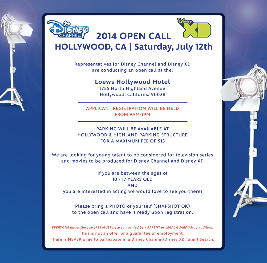 Disney channel open casting call in l a area auditions free