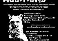 Auditions flyer for Foxfinder in Las Vegas
