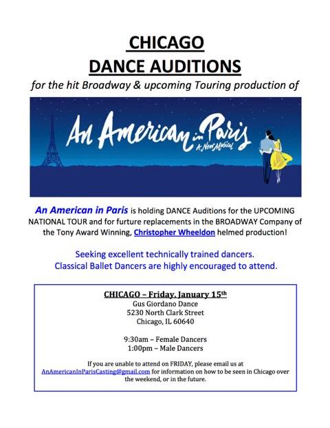 Open dancer auditions for Broadway show 'An American in Paris""