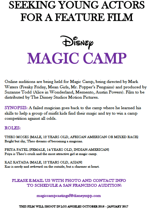 Magic Camp - Disney Auditions for Kids, Disney Movie Major Roles