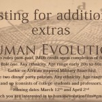 "Now Casting Actors for 2 Roles in ""Human Evolution Ep. 1″ Filming in Charleston, SC"
