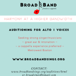 Female A Cappella Singing Group Seeks Experienced Alto in Boston