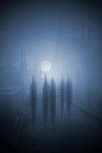 Ghosts passing on the main street of an old cemetery on a foggy full moon night - added some digital grain