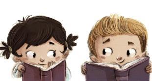 nios leyendo libros felices
