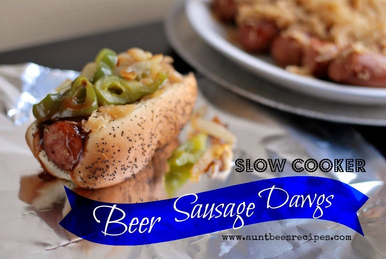 Slow Cooker Beer Sausage Dawgs