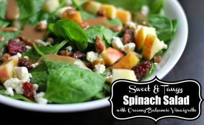 Sweet & Tangy Spinach Salad with Creamy Balsamic Vinaigrette