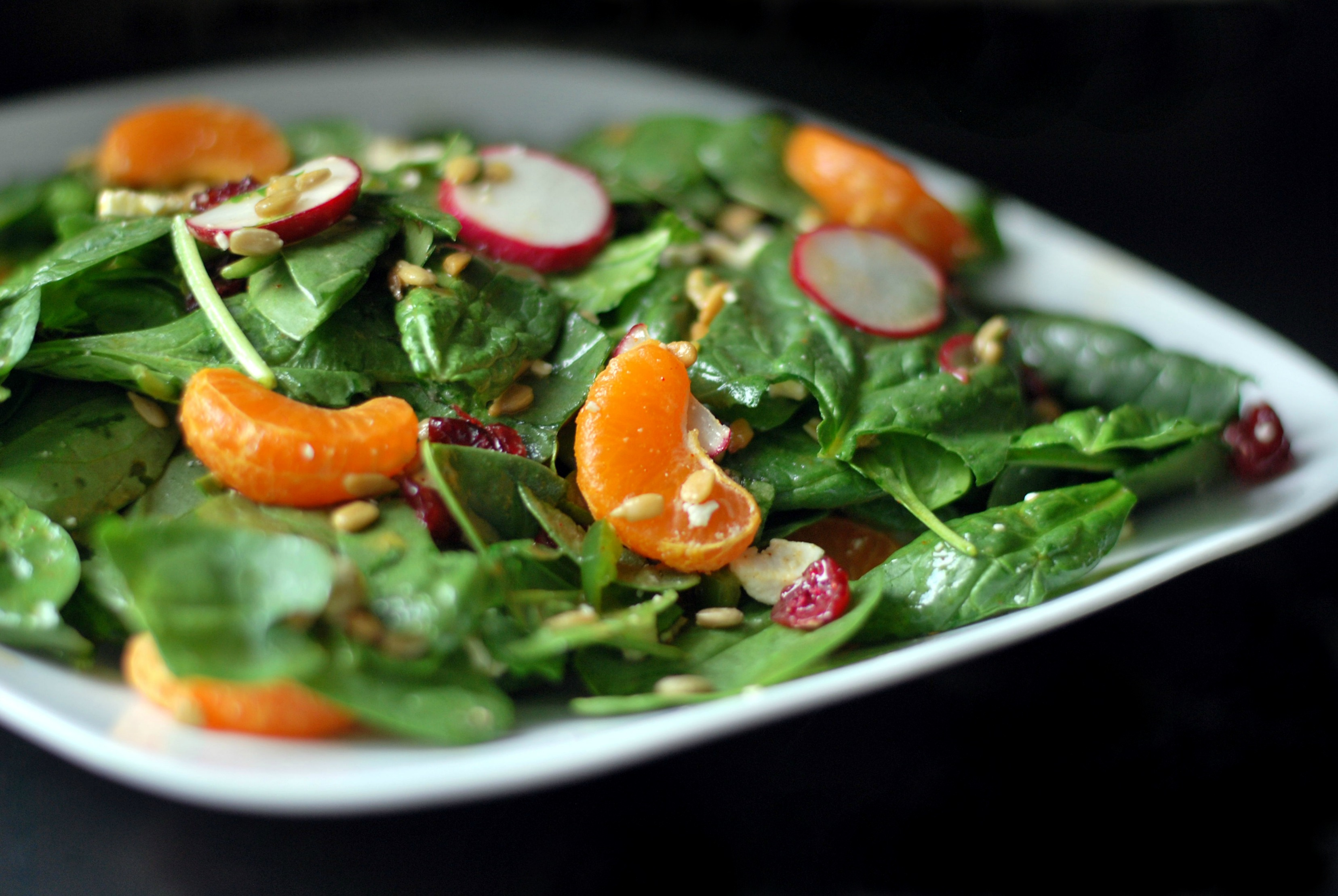 Spinach, Clementine & Feta Salad with Honey-Lime Dressing