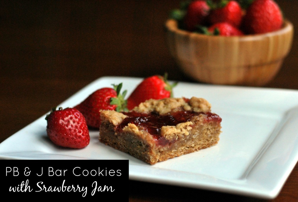 PB & J Bar Cookies with Strawberry Jam - Aunt Bee's Recipes