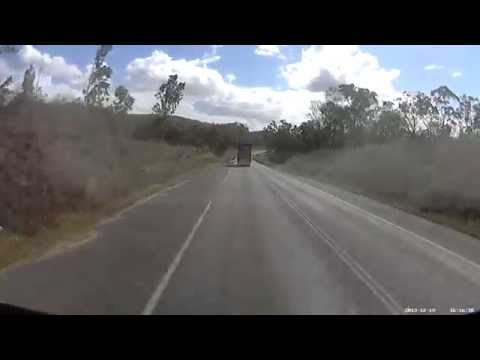19-12-2013 - Franna Crane loses control on a highway, has a head on collision with Hino Tilt Tray (Peaks Down Highway, Nebo)