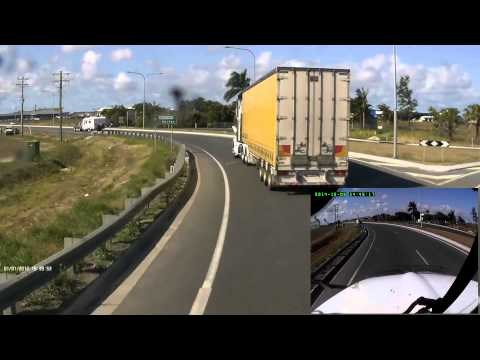 09-10-2014 - Two trucks and a caravan engage in some mutual road rage (Paget, Mackay)