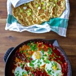 bacon shaksuka + paleo flatbread