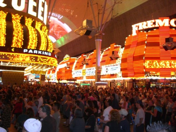 Bright lights on Fremont Street in Las Vegas