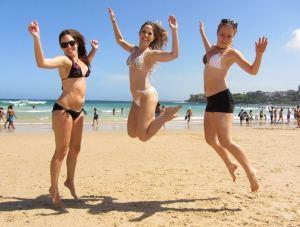 three girls in bikinis