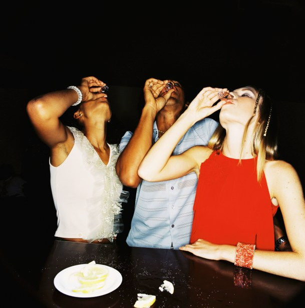 girls drinking tequila