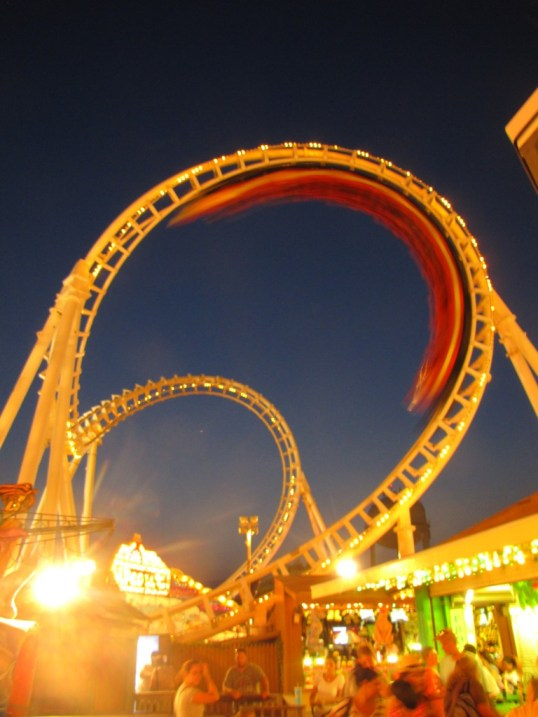 A rollercoaster doing its thing at Ocean City