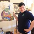 "Autistic artist Grand Manier ""coolages"" recycled puzzle pieces"