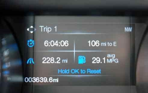 Registros de viagem, tempo, distância, quanto falta para esvaziar o tanque e consumo médio