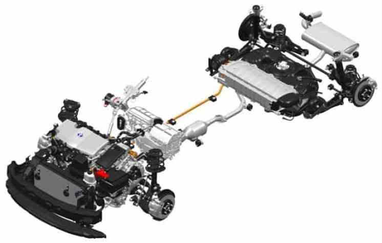 Mecânica e elétrica em desenho da Toyota