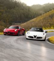 2015 Alfa Romeo 4C Coupe (left) and Alfa Romeo 4C Spider (right)