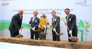 Kia GLP Ethiopia Auto Mechanic Training Center Groundbreaking (from left): Mr. Edward Brown, World Vision Ethiopia National Director; Mr. In-Shik Kim, President of Korea International Cooperation Agency; Ms. Roman Tesfay, First lady of Ethiopia; Mr. Jin-Haeng Chung, President of Hyundai Motor Group: and Mr. Soon-Nam Lee: President of Kia Middle East & Africa regional Headquarters