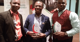 Ford Brand Manager, Coscharis Motors, Felix Mahan, ;  President, Coscharis Group, Dr. Cosmas Maduka ;  and General Manager, Marketing and Corporate Communications, Coscharis Group, Mr. Abiona Babarinde, during the 2016 Nigeria Auto Journalist Association Awards held at the Eko Hotel & Suites, Victoria Island on Thursday, November 24, 2016.