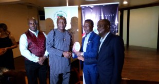 From left:  General Manager, Marketing and Corporate Communications, Coscharis Group, Abiona Babarinde ; Acting Commissioner for Transportation, Lagos State, Prince Anofi Elegushi ; President, Coscharis Group, Dr Cosmas Maduka ;  Chairman, Nigerian Auto Journalists Association (NAJA) at the 2016 Nigerian Auto Journalists Awards event where Dr. Cosmas Maduka was honoured as the Auto Personality of The Year, recently in Lagos.