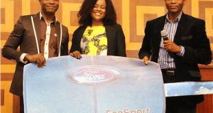 Mr. Felix Mahan, Ford Brand Manager, Coscharis Motors; Mrs. Marvis Marshal Idio, Winner of The Next Titan Season 3; and Mr. Olalekan Adenuga, Divisional General Manager, Dealer Network Development, Coscharis Motors; during the presentation of Ford EcoSport 2017 model to the winner of The Next Titan Season 3 at Oriental Hotel, Lagos...recently.