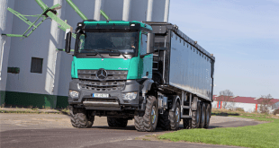 The Mercedes-Benz Arocs 2051 AK 4x4 was awarded top marks for fuel efficiency and PTO output in the DLG PowerMix transport test.